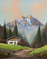 The Alpine Chalet - Swiss School - A Vintage Snow-capped Landscape Oil Painting (2 of 12)
