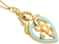 Seed Pearl, Enamel & 18ct Yellow Gold Pendant - Antique c.1890 (4 of 9)