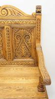 Good Quality  Reproduction  Carved Oak Settle or Hall Seat (5 of 17)