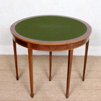 Demi Lune Card Table Mahogany Folding