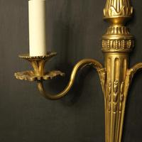 French Set of 3 Twin Arm Gilded Antique Wall Lights (6 of 10)