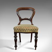 Antique Set of 6 Dining Chairs, English, Walnut, Balloon Back, Victorian c.1850 (4 of 12)