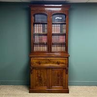 Superb Quality Victorian Mahogany Antique Glazed Secretaire Bookcase On Cupboard
