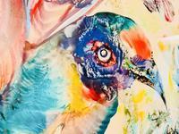 A Stunning Original Gabrielle Bouffay Watercolour Painting L'Oiseau Bleu 1968 (5 of 7)