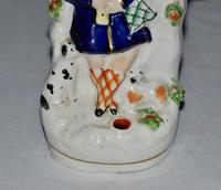 Victorian Staffordshire Spill Vase / Quill Holder Seated Figure, Dog & Lamb (3 of 4)