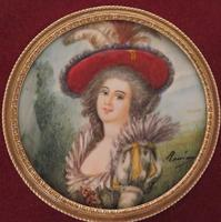 Miniature Portrait Lady of the French Court Square Gilt Frame 1880 (3 of 3)