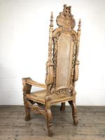 Large Carved Wooden Lion Throne Chair (6 of 10)
