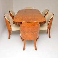 Art Deco Burr Walnut Dining Table & Cloud Back Chairs by Epstein (4 of 13)