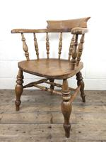 19th Century Beech and Elm Smoker's Bow Chair (2 of 12)