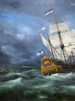 Huge Magnificent 20th Century Vintage Seascape Oil Painting - Battleship in Rough Sea (9 of 12)