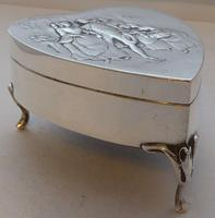 Rare Large 1904 Hallmarked Solid Silver Love Heart Pill Earring Jewellery Box (5 of 13)