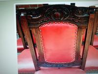 Six Beautiful 'one needs slight repair' Red Leather High Back Chairs - Boardroom / Council Office (4 of 6)