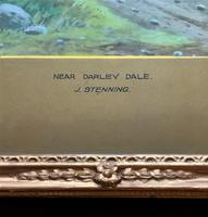 Near Darley Dale 19thc Derbyshire Sheppard Sheep  Landscape Watercolour Painting (10 of 13)