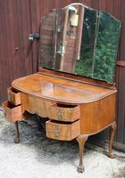 1940s Burr Walnut Dressing Table with Large Mirror (2 of 3)
