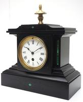 Amazing French Slate Mantel Clock Timepiece Mantle Clock with Machilite Inlay (6 of 11)
