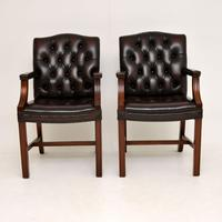 Pair of Antique Georgian Style Leather Gainsborough Armchairs (8 of 9)