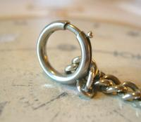 Antique Pocket Watch Chain 1890s Victorian Large Silver Nickel Graduated Link Albert (9 of 10)