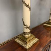 Impressive Pair of Brass & Enamelled Vine Lamps (6 of 7)