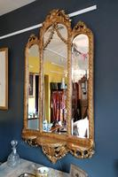 Antique Regency style triple fronted Giltwood Mirror with shelf (5 of 9)