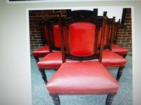 Six Beautiful 'one needs slight repair' Red Leather High Back Chairs - Boardroom / Council Office (3 of 6)