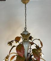 Large Florentine Ceiling Light Chandelier Toleware with Polychrome Painting (11 of 11)