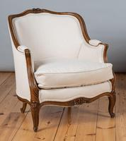 Large French Louis XV Style Walnut Bergere Upholstered Armchair