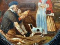 After: Gabriel Metsu (1629-1667) 'The Game Seller' 19thc Miniature Oil Painting (4 of 12)