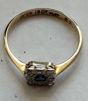 18ct Gold Platinum Art Deco Sapphire & Diamond Ring Size M.5 (16 of 16)