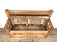 Pitch Pine and Oak Settle Bench with Drawers (M-1475) (8 of 11)