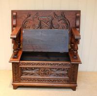 Carved Oak Monks Bench (5 of 10)