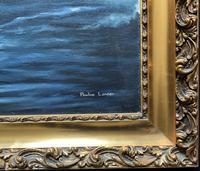 Large Fabulous Vintage 20th Century Maritime Naval Battle Ships Seascape Oil Painting (11 of 12)