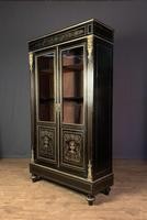 French Napoleon III Inlaid Brass Bookcase (9 of 11)