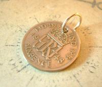 Vintage Pocket Watch Chain Fob 1948 Lucky Silver Sixpence Old 6d Coin Fob (5 of 8)