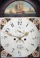 19thc English 8 Day Longcase Clock Mahogany Case Galleon Painted Dial Grandfather Clock (16 of 19)