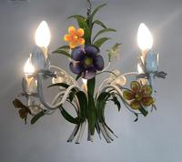 Vintage French 5 Arm Floral Toleware Chandelier (6 of 11)