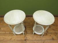 Pair of Round Gustavian Shabby Chic bedside Tables, White & Grey (9 of 12)