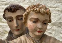 Exceptional Early 1900's Signed 39'' Carved Sculpture Statue St Anthony & Jesus (9 of 18)