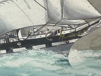 """Edwardian Watercolour """"Champion Of The Seas"""" Ship Black Ball Line Off Cape of Good Hope Signed Pierhead Artist Williams (30 of 39)"""