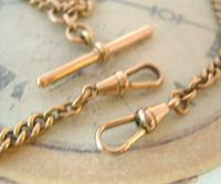 Antique Pocket Watch Chain 1890s Victorian Large 10ct Rose Rolled Gold Albert With T Bar (9 of 12)