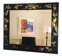 Pair of Black Lacquer Japanese Decorated Wall Mirrors c.1910 (9 of 14)