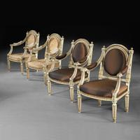 Extremely Fine & Decorative Set of Four 19th Century Italian Painted And Parcel Gilt Armchairs of Neo-Classical Design