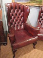 Superb Antique Leather Buttoned Wing Armchair
