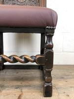 Early 18th Century Carved Oak Chair with Leather Seat (M-192) (2 of 10)