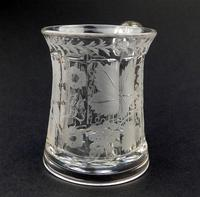 Good Engraved Glass Marriage Tankard with Vine Hops & Barley 19th Century (3 of 11)