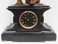 Antique French Slate Mantel Clock 8-Day Striking Gilt Spelter Figural Mantle Clock (4 of 8)