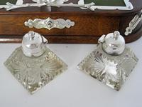 Decorative Late Victorian Oak & Silver Plate Ink Stand (6 of 9)