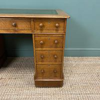 Victorian Golden Oak Antique Pedestal Desk (3 of 7)