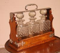 Liquor Cellar / Tantalus In Silver Metal And Oak Three Crystal Bottles - 19th Century (5 of 10)