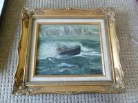 """Fine """"Lifeboat in Stormy Sea"""" oil on canvas- signed """"Cheyne """""""