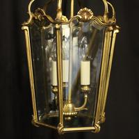 French Gilded Bronze Triple Light Antique Hall Lantern (6 of 10)